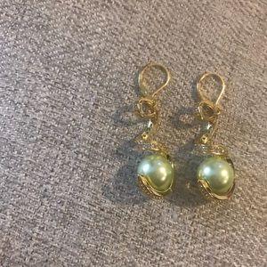 Green Pearl Bead Earrings